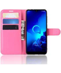 Alcatel 3 (2019) Litchi Skin Portemonnnee Hoesje Roze