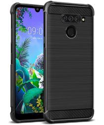 IMAK Vega Series LG Q60 Hoesje Schokbestendig en Geborsteld TPU Zwart