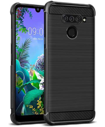 IMAK Vega Series LG Q60 Hoesje Schokbestendig Geborsteld TPU Zwart Hoesjes