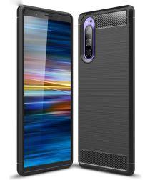 Sony Xperia 5 Geborsteld TPU Hoesje Zwart