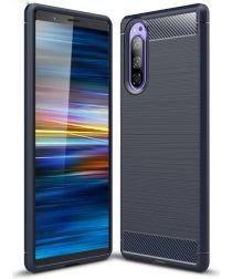 Sony Xperia 5 Geborsteld TPU Hoesje Donker Blauw