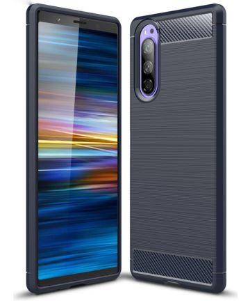 Sony Xperia 5 Geborsteld TPU Hoesje Donker Blauw Hoesjes