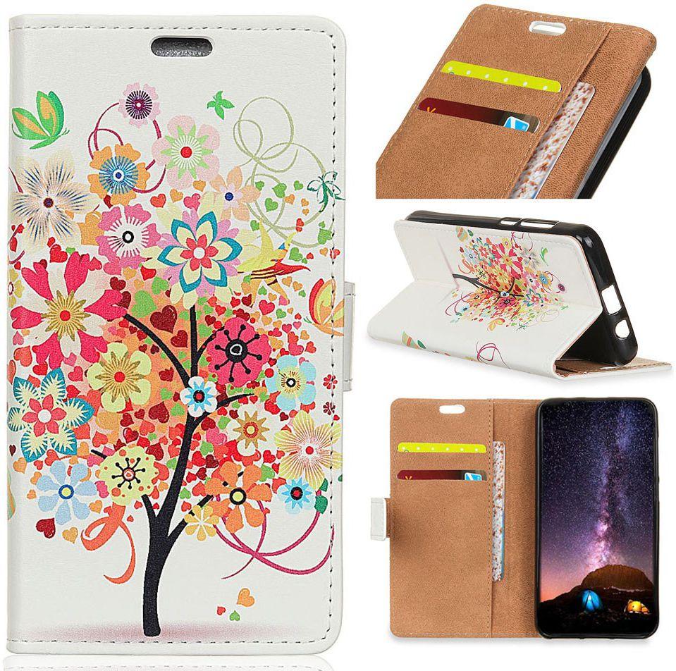 Motorola One Vision Portemonnee Hoesje met Kleurrijke Bloemen Print