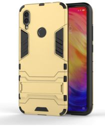 Redmi Note 7 Hoesje Hybride met Stand Goud