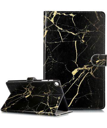 Samsung Galaxy Tab A 10.1 (2019) Book Hoes met Marmer Print Zwart Hoesjes