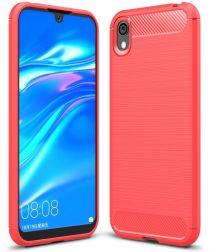 Huawei Y5 2019 Geborsteld Rood TPU Hoesje