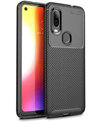 Motorola One Vision Siliconen Carbon Hoesje Zwart