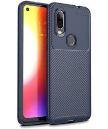 Motorola One Vision Siliconen Carbon Hoesje Blauw