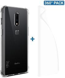 IMAK OnePlus 7 Hoesje Flexibel TPU met Screenprotector Transparant