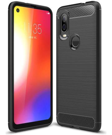 Motorola One Vision Geborsteld TPU Hoesje Zwart Hoesjes