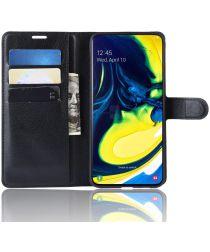 Samsung Galaxy A80 Lychee Portemonnee Hoesje Zwart