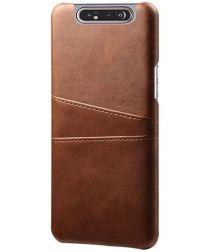 Samsung Galaxy A80 Back Cover met Kunstlederen Coating Bruin