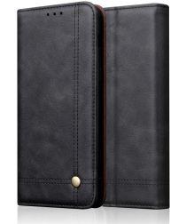 Huawei P20 Lite (2019) Portemonnee Vintage Hoesje Zwart