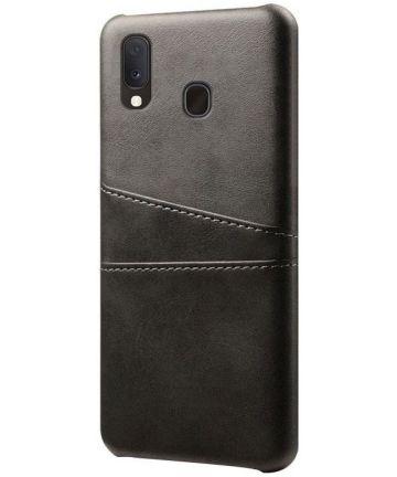 Samsung Galaxy A20e Back Cover met Kunstlederen Coating Zwart