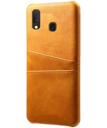 Samsung Galaxy A20e Back Cover met Kunstlederen Coating Bruin