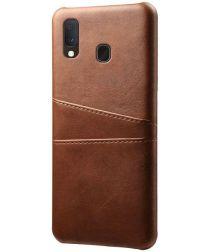 Samsung Galaxy A20e Back Cover met Kunstlederen Coating Donkerbruin