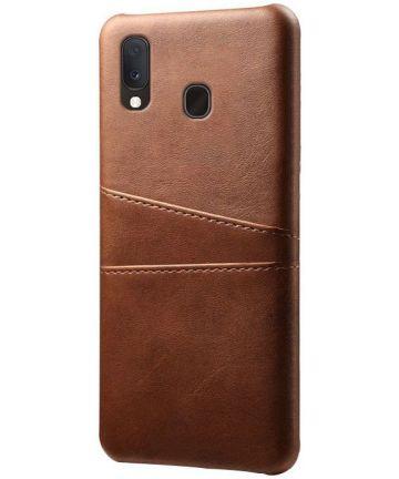 Samsung Galaxy A20e Back Cover met Kunstlederen Coating Donkerbruin Hoesjes