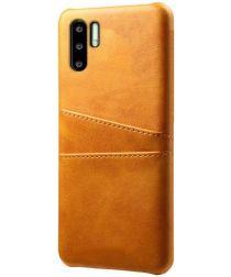 Huawei P30 Pro Back Cover met Kunstlederen Coating Bruin