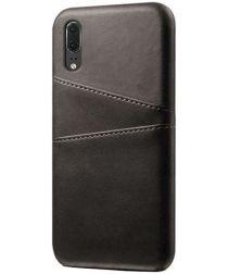 Huawei P30 Back Cover met Kunstlederen Coating Zwart