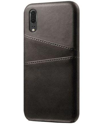 Huawei P30 Back Cover met Kunstlederen Coating Zwart Hoesjes