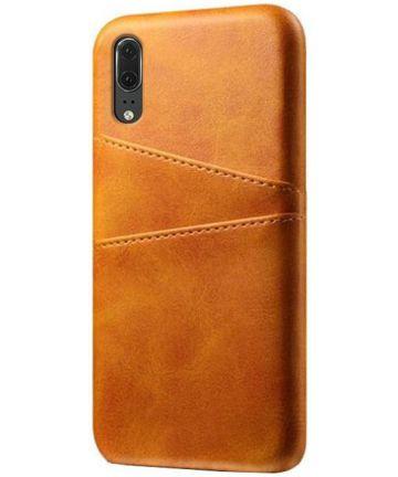 Huawei P30 Back Cover met Kunstlederen Coating Bruin Hoesjes