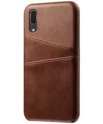 Huawei P30 Back Cover met Kunstlederen Coating Donkerbruin
