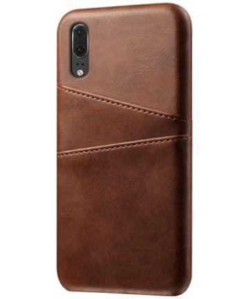 Huawei P30 Back Cover met Kunstlederen Coating Donkerbruin Hoesjes