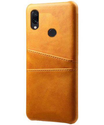 Xiaomi Redmi Note 7 Back Cover met Kunstlederen Coating Bruin Hoesjes