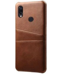 Xiaomi Redmi Note 7 Back Cover met Kunstlederen Coating Donkerbruin