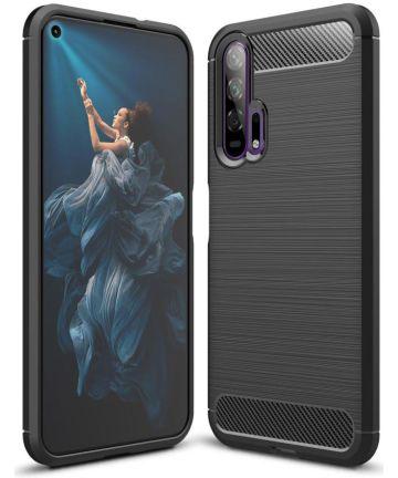Huawei Honor 20 Pro Geborsteld TPU Hoesje Zwart Hoesjes