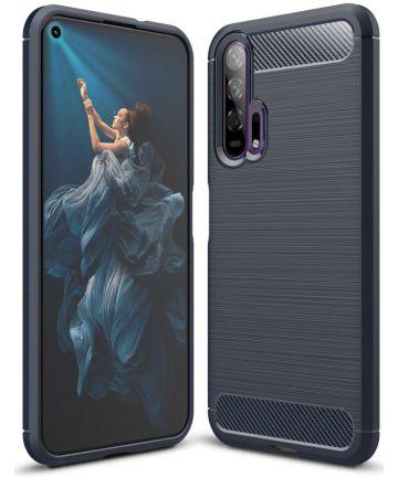 Huawei Honor 20 Pro Geborsteld TPU Hoesje Blauw Hoesjes