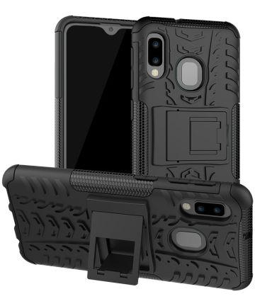 Samsung Galaxy A20e Robuust Hybride Hoesje Zwart