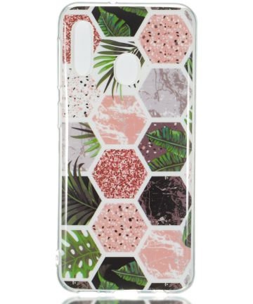 Samsung Galaxy A20E TPU Back Cover met Marmer Print Hexagon Hoesjes