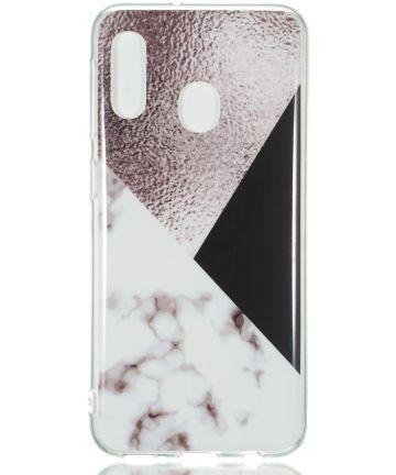 Samsung Galaxy A20E TPU Back Cover met Marmer Print Bruin Hoesjes