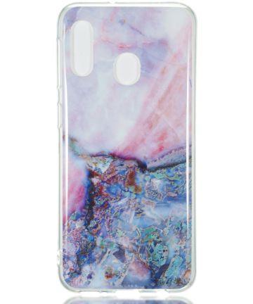 Samsung Galaxy A20E TPU Back Cover met Marmer Print Blauw Hoesjes