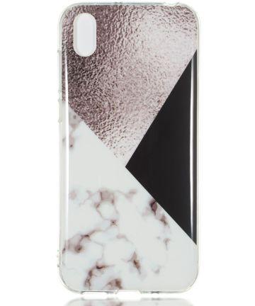 Huawei Y5 (2019) TPU Back Cover met Marmer Print Bruin
