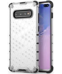 Samsung Galaxy S10 Plus Hybride Honinggraat Hoesje Transparant Wit
