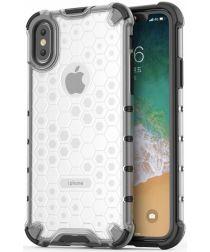 Apple iPhone XS Hybride Honinggraat Hoesje Transparant Wit