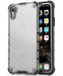 Apple iPhone XR Hybride Honinggraat Hoesje Transparant Grijs
