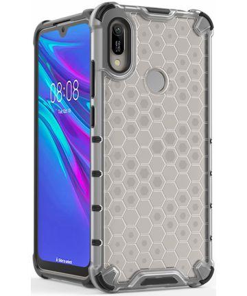Huawei Y6s / Y6 (2019) Hoesje Hybride Honinggraat Transparant/Wit Hoesjes