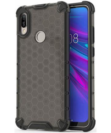 Huawei Y6s / Y6 (2019) Hoesje Hybride Honinggraat Transparant/Zwart Hoesjes