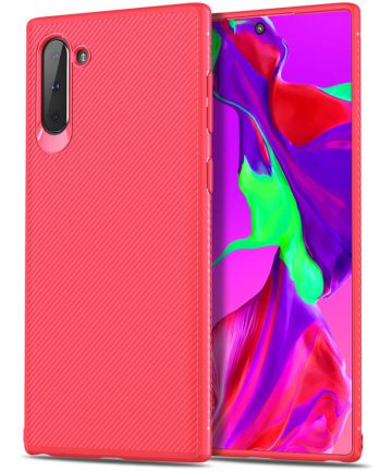 Samsung Galaxy Note 10 Twill Slim Texture Back Cover Rood Hoesjes