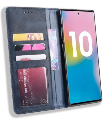 Samsung Galaxy Note 10 Plus Vintage Portemonnee Hoesje Blauw Hoesjes