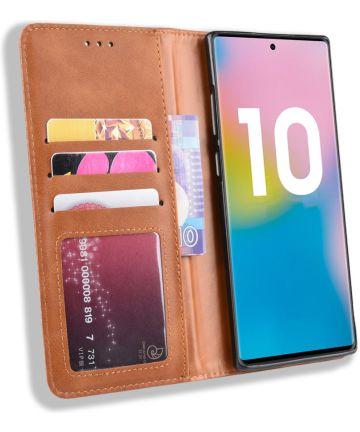 Samsung Galaxy Note 10 Plus Vintage Portemonnee Hoesje Bruin Hoesjes