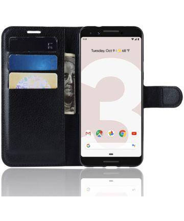Google Pixel 3a Litchi Skin Leren Portemonnee Hoesje Zwart Hoesjes
