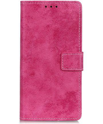 Alcatel 1S (2019) Vintage Portemonnee Hoesje Roze Hoesjes