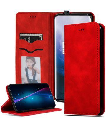 OnePlus 7 Pro Stijlvol Portemonnee Hoesje Rood