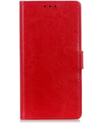 Samsung Galaxy A50 Book Case Hoesje Wallet Standaard Kunst Leer Rood Hoesjes