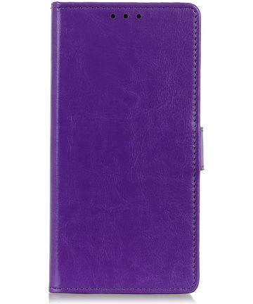Samsung Galaxy A50 Book Case Hoesje Wallet Standaard Kunst Leer Paars Hoesjes