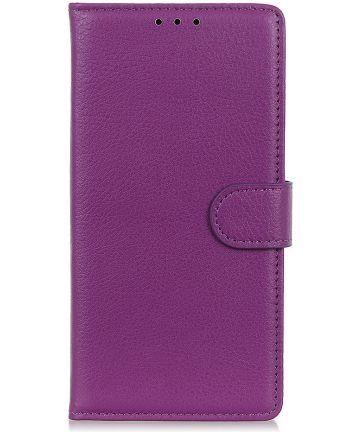Samsung Galaxy A50 Book Case Hoesje Wallet Kunst Leer Paars Hoesjes